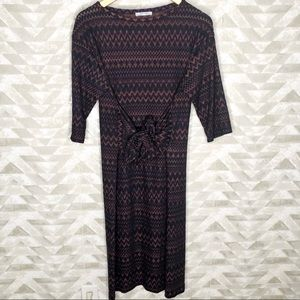 Zara chevron print tie front midi dress